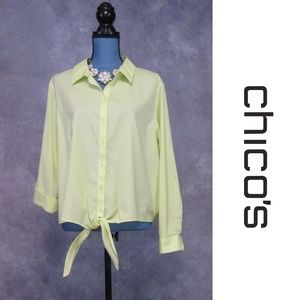 Chico's 3 Chartreuse Roll Tab Tie Front Blouse L